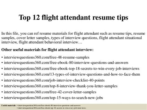 Cover Letter Resume Sles Experience Flight Attendant Top 12 Flight Attendant Resume Tips