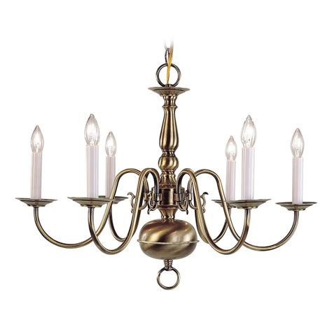 Shop Livex Lighting Williamsburg 6 Light Antique Brass Williamsburg Brass Chandelier