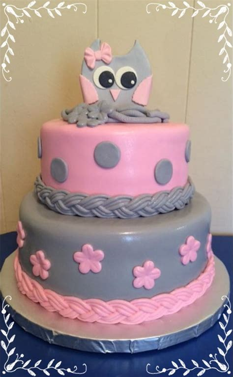 Baby Owl Shower by Pink Gray Owl Baby Shower Cakecentral