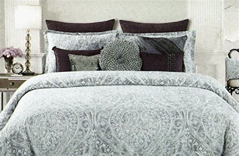 tahari grey silver paisley 6 pieces king comforter set