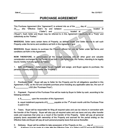 Purchase Agreement Template Create A Free Purchase Agreement Standard Purchase Agreement Template