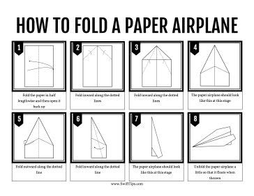 printable instructions paper airplane kids can learn to fold a standard paper airplane by