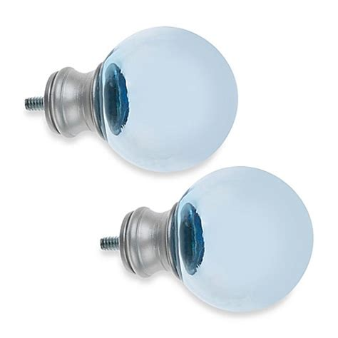 Cambria 174 My Room Ball Finial In Blue Glass And Brushed