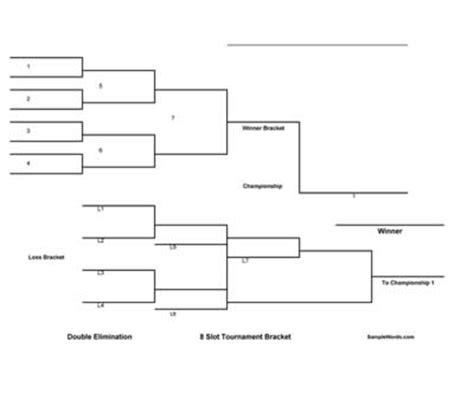 free printable 8 team double elimination tournament bracket