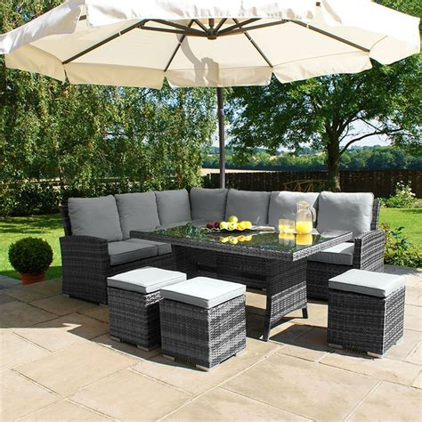 maze rattan kingston corner sofa dining set grey 163 999