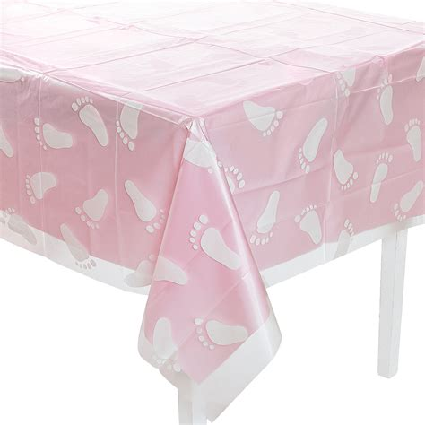 baby shower table cloths clear footprint baby shower tablecloth trading