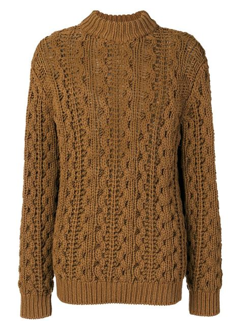brown cable knit jumper ferragamo cable knit turtleneck jumper in brown for lyst