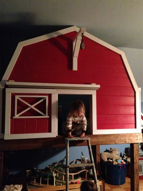 bed barn a barn loft bed both boys each have a toddler mattress inside created so much extra