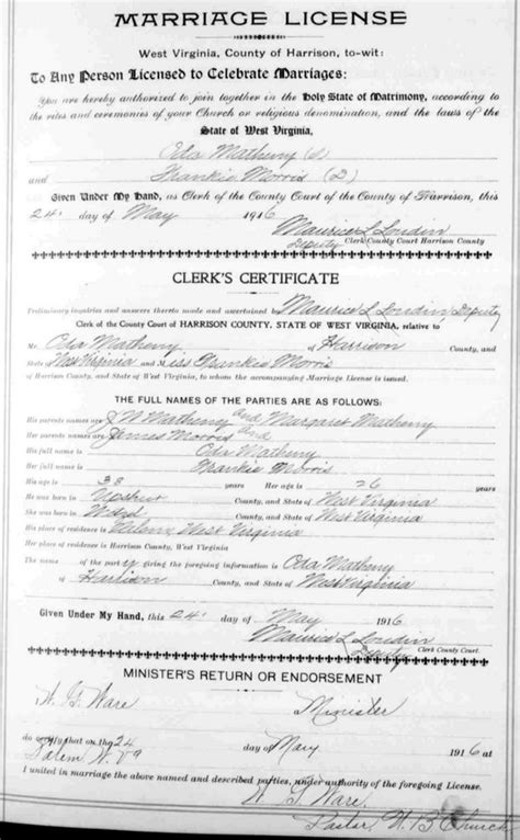 Wvculture Marriage Records Oda Floyd Matheny Frances Theodosia Morris