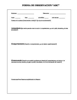 Observation Form ABC To Record Child's Behavior-Spanish | TpT