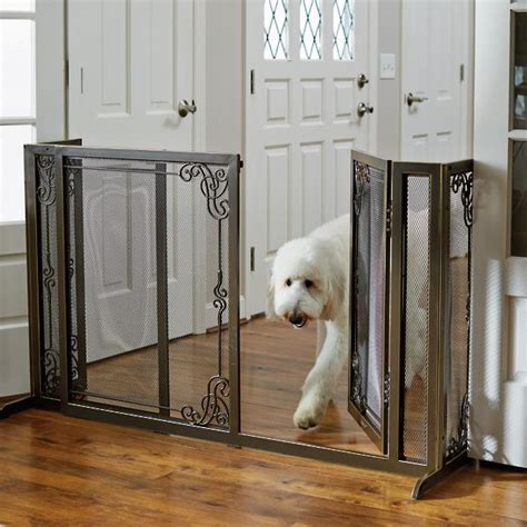 expandable dog gates for the house 34 quot h expandable free standing steel mesh pet gate frontgate