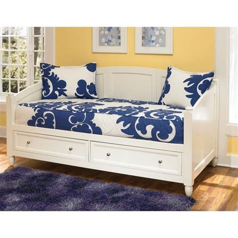 White Daybed With Storage La Salle Daybed With Trundle And Storage Drawers In White 300107