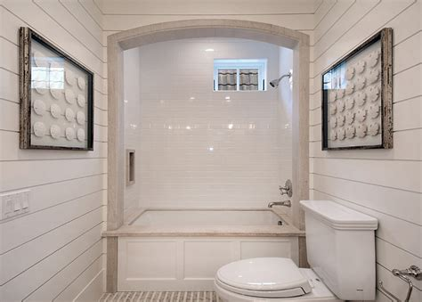 shiplap tub surround bathtub alcove cottage bathroom brandon architects