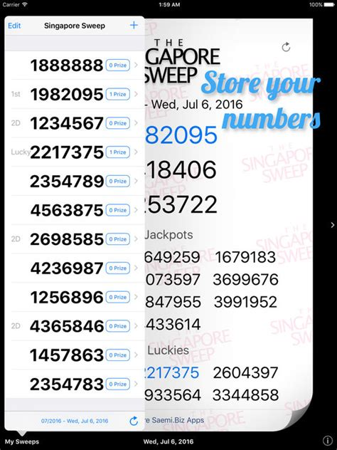 Sweepstakes Results - singapore sweep results on the app store