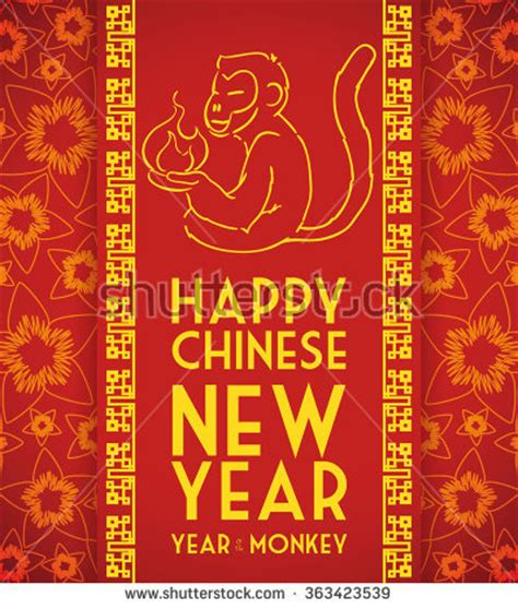 new year of monkey message monkey holding with happy new year message in cherry