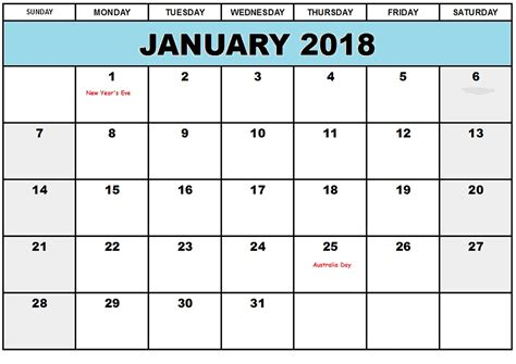 january 2018 calendar australia printable calendar templates