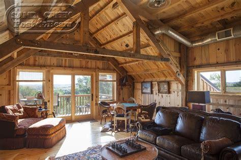 loft living space sand creek post beam barn house