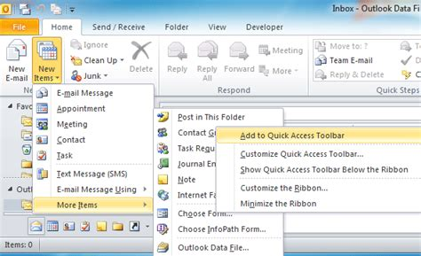 Outlook 2007 Template Shortcut by How To Add Shortcuts To Template In Ribbon In Outlook