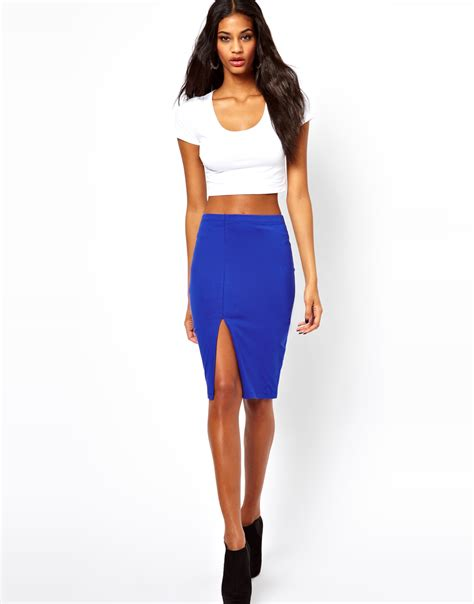 asos pencil skirt with thigh high split in black lyst