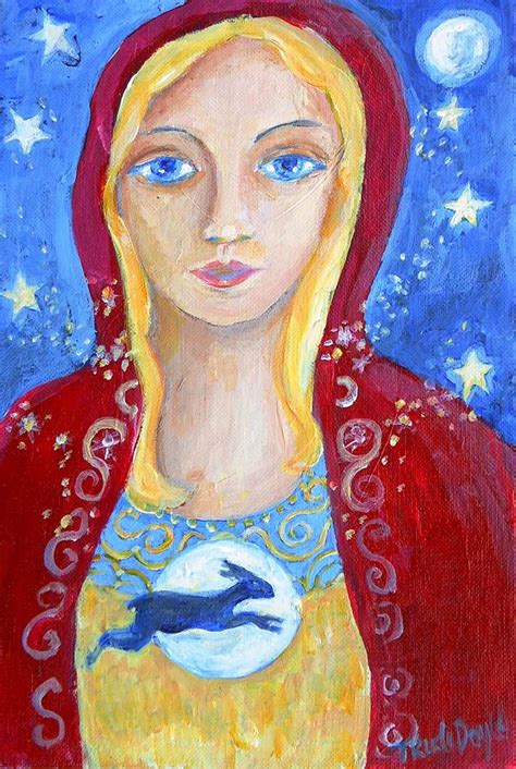 goddess easter the goddess eostra and the hare easter painting by trudi