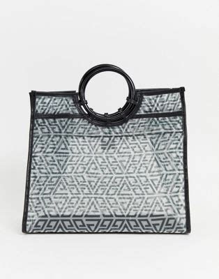 asos design organza shopper bag  monogram print asos