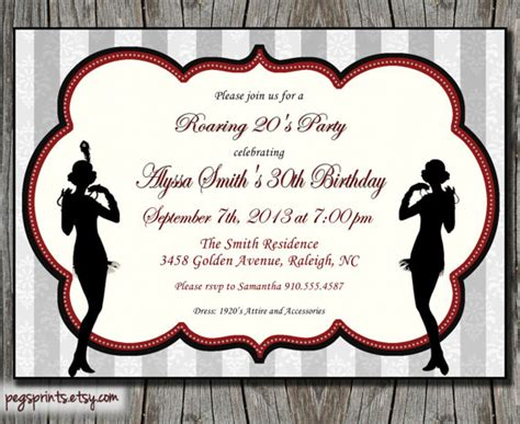 roaring 20s invitation 1920s birthday printable by pegsprints