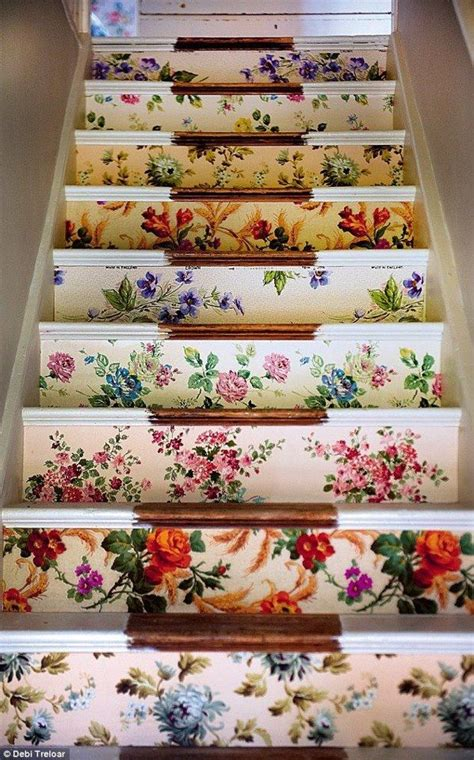 decoupage stairs wallpaper upcycling ideas for your home chic living