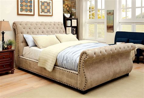 Upholstered Sleigh Bed Noemi Upholstered Sleigh Bed Cm7127q Furniture Of America
