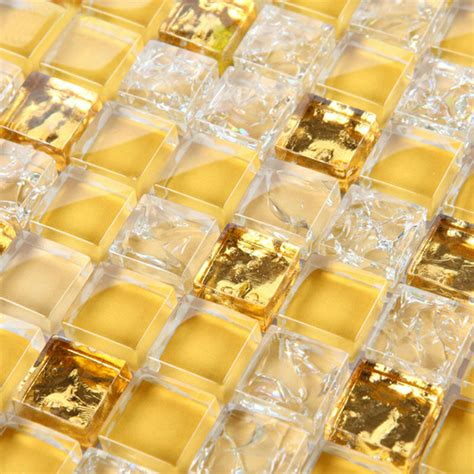 gold glass tile backsplash glass mosaic tile wall decoration gold metal coating tiles