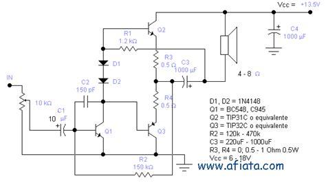 transistor c945 circuit 15w audio lifier circuit using tr tip31 tip32 bc548 c945 electronic circuit diagram and