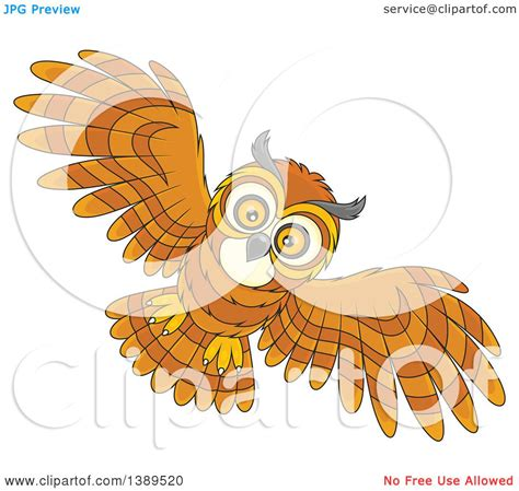 flying owl clipart clipart of a flying owl royalty free vector