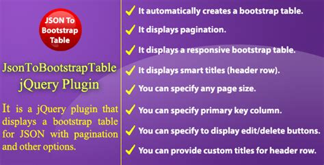 json to html table json to bootstrap table jquery plugin jogjafile