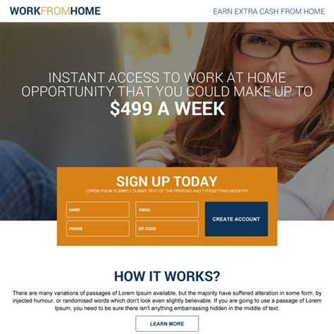Work Online From Home Full Time - work from home landing page design template exle to earn money online