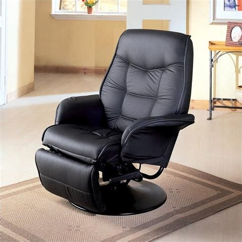 Coaster Furniture Faux Leather Swivel Recliner Chair In Black Swivel Chair