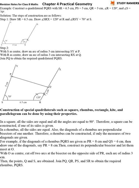 CBSE Revision Notes for Class 8 Chapter 4 Practical Geometry