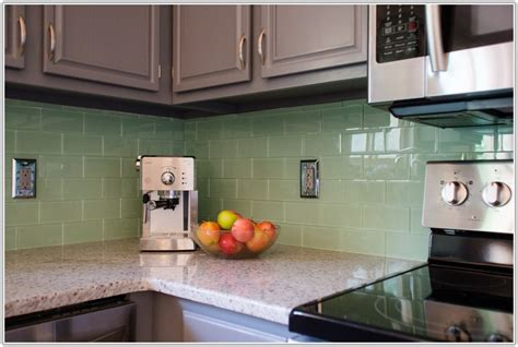 green tile backsplash kitchen green glass tile kitchen backsplash tiles home