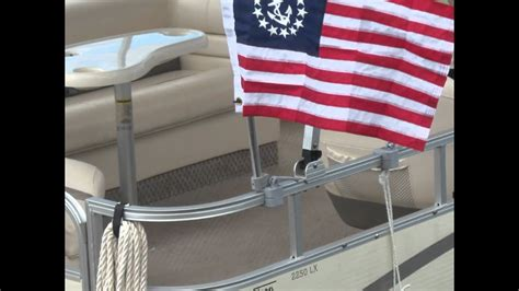 pontoon boat flags pontoon boat accesories from www thebiminibuddy youtube