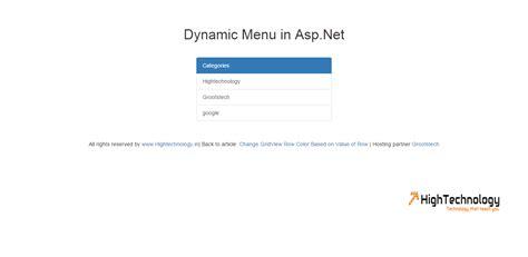 design menu control in asp net dynamic menu in asp net using database