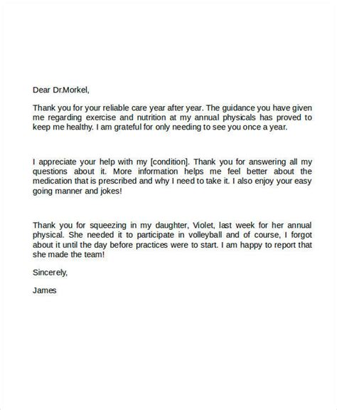 thank you letter to doctor 5 sle thank you letter to doctor sle templates