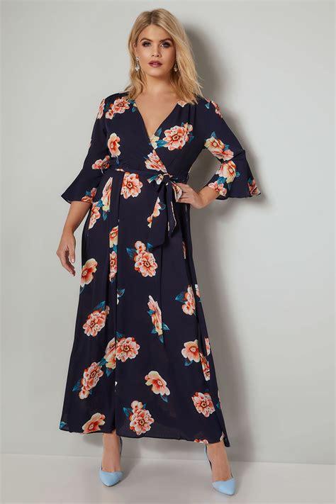 H M Blouse Hmb07 Crepe Tiny Floral Navy ax curve navy multi floral maxi dress plus size 16 to 26