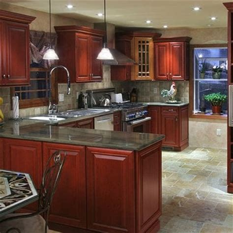 Bamboo Kitchen Cabinets Lowes cherry cabinets duo stain fireside amp bamboo granite