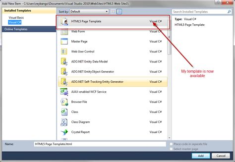 templates for visual studio 2010 how to create html5 website and page templates for visual