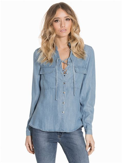 Lace Up Denim Blouse lace up denim shirt nly trend medium blue blouses