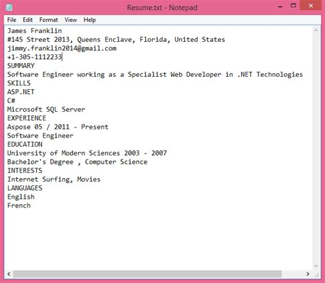 resume parser by aspose for net
