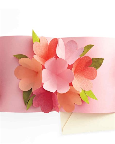 flower bouquet pop up card template pop up card martha stewart