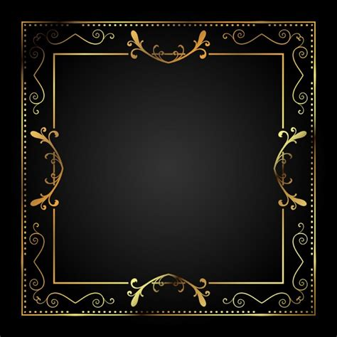 stylish metallic gold frame vector free download
