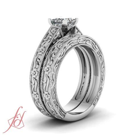 solitaire vintage milgrain wedding rings set 1 2 carat