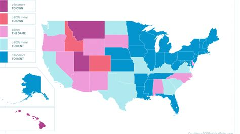 average rent by state the cost of renting vs owning a home in every state