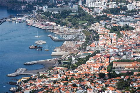 aerial cityscape   port area  funchal madeira