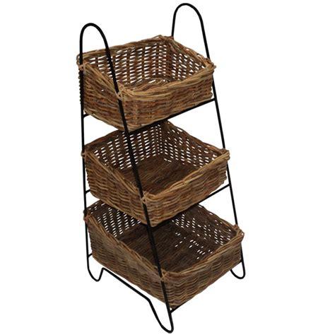house additions 3 tier rattan basket vegetable rack
